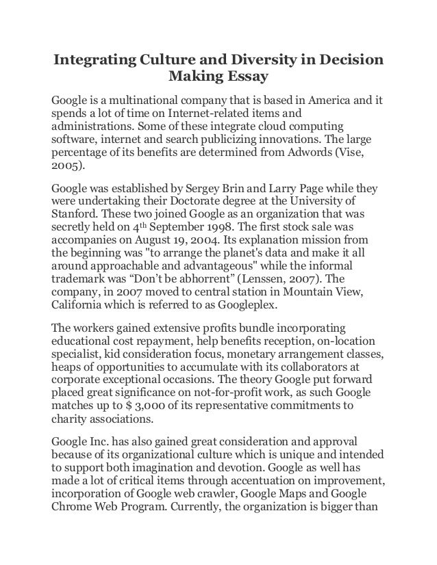 Essay on corporate culture