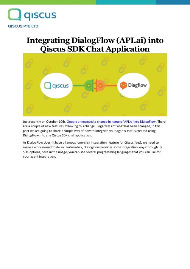 Integrating dialog flow (api ai) into qiscus sdk chat application