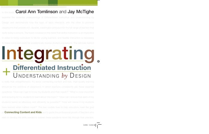 In this book,   Carol Ann Tomlinson and Jay McTigheexamine the essential underpinnings of Differentiated Instruction and U...