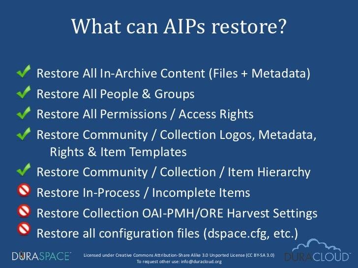 <ul><li>Restore All In-Archive Content (Files + Metadata) </li></ul><ul><li>Restore All People & Groups </li></ul><ul><li>...