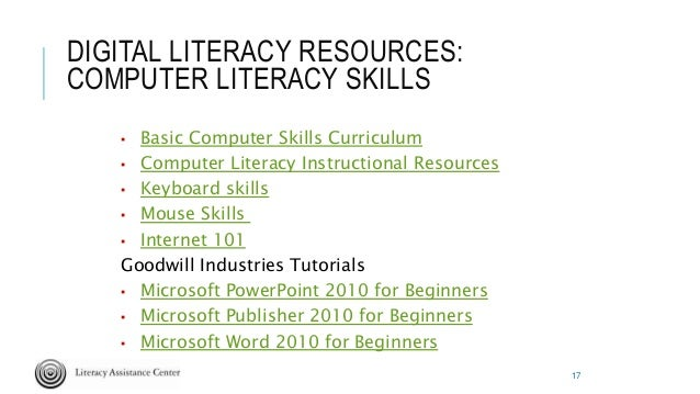Computer literacy curriculum adult education photo 355