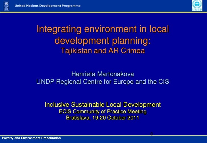 Integrating environment in local                         development planning:                                   Tajikista...