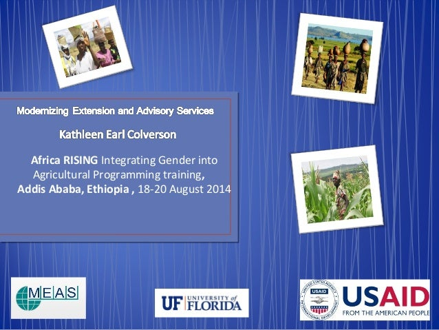 Africa RISING Integrating Gender into  Agricultural Programming training,  Addis Ababa, Ethiopia , 18-20 August 2014