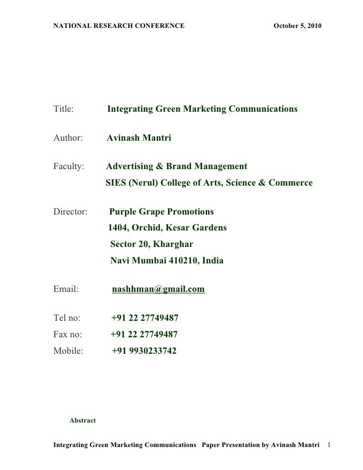 NATIONAL RESEARCH CONFERENCE                                     October 5, 2010     Title:         Integrating Green Mark...