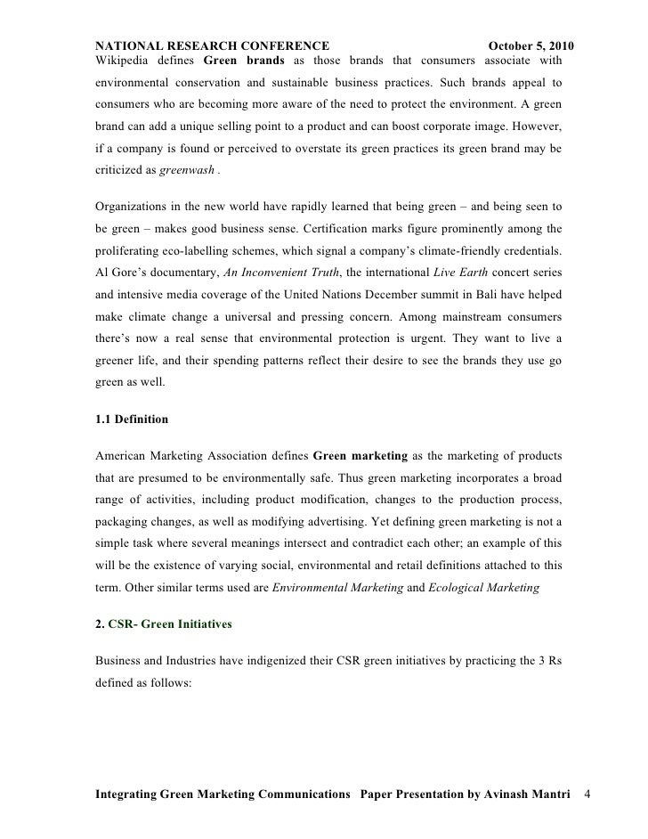 Research paper on green marketing