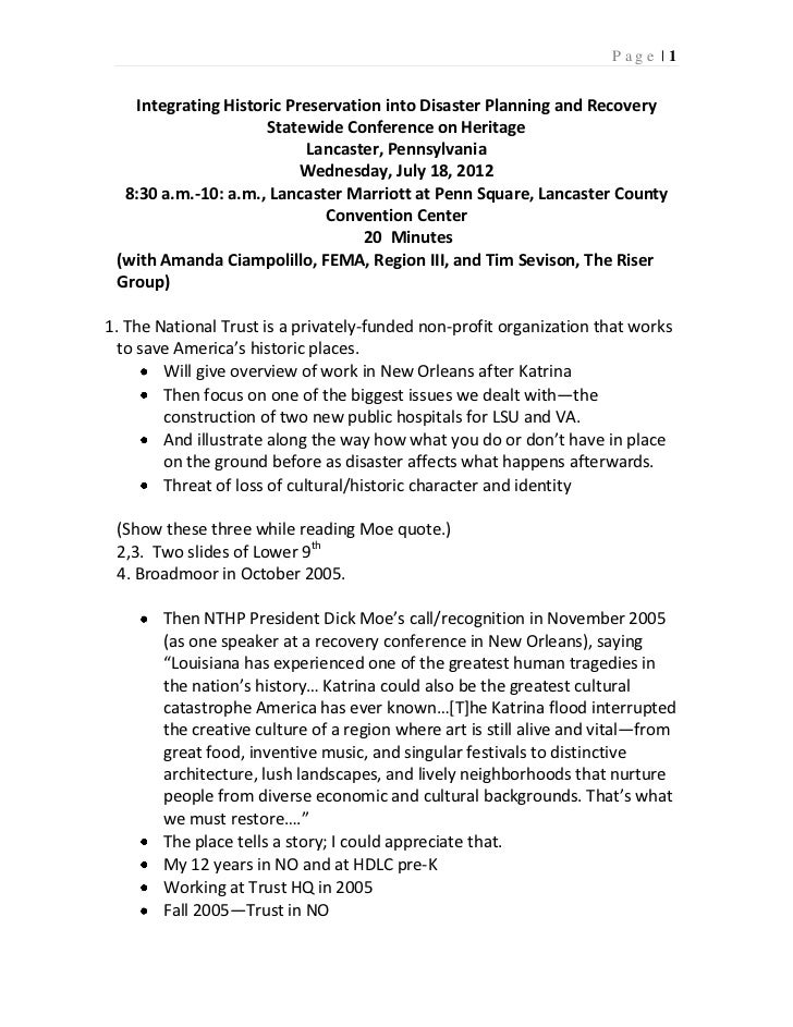 Page |1   Integrating Historic Preservation into Disaster Planning and Recovery                     Statewide Conference o...