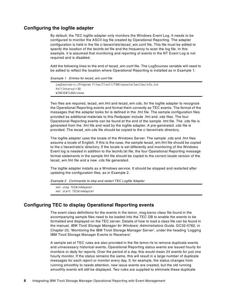 Integrating ibm tivoli storage manager operational reporting