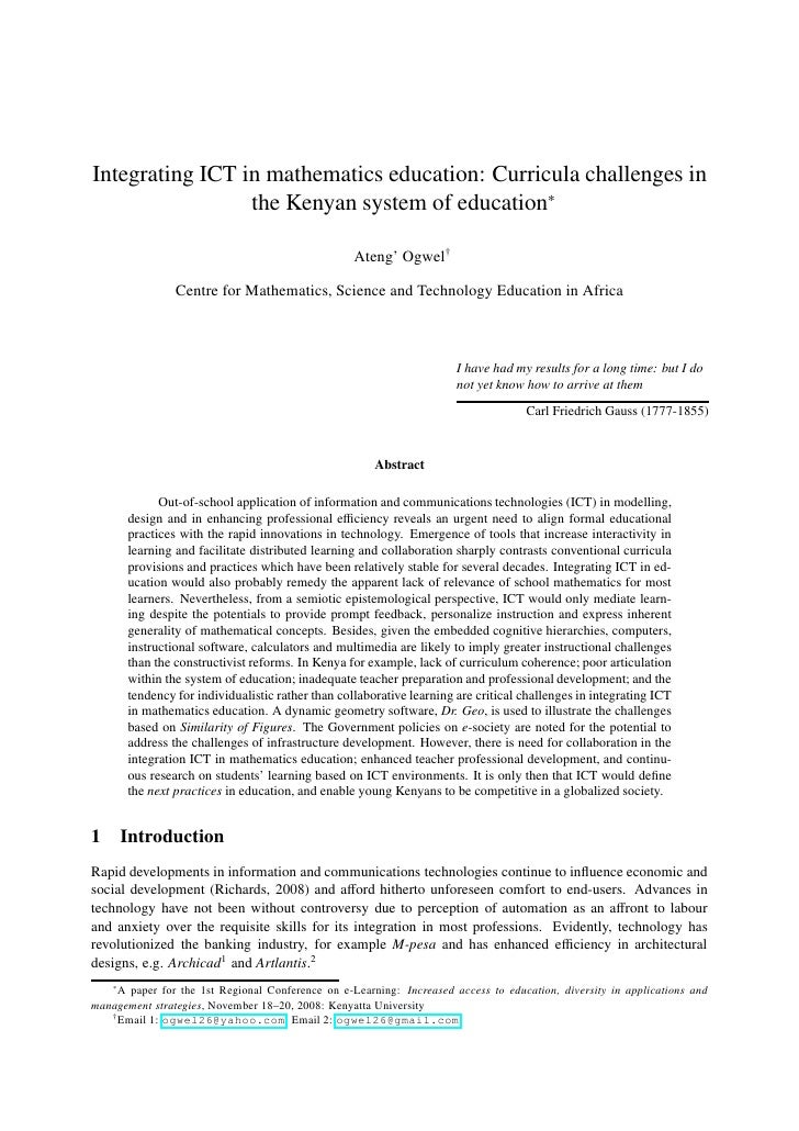 Integrating ICT in mathematics education: Curricula challenges in                  the Kenyan system of education∗        ...