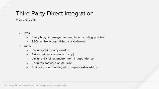 Integrating Linux Systems with Active Directory Using Open Source Tools Slide 12