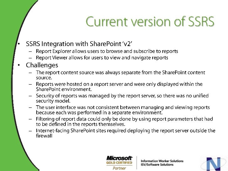 Integrating MOSS 2007 with SSRS 2005/2008 Slide 3