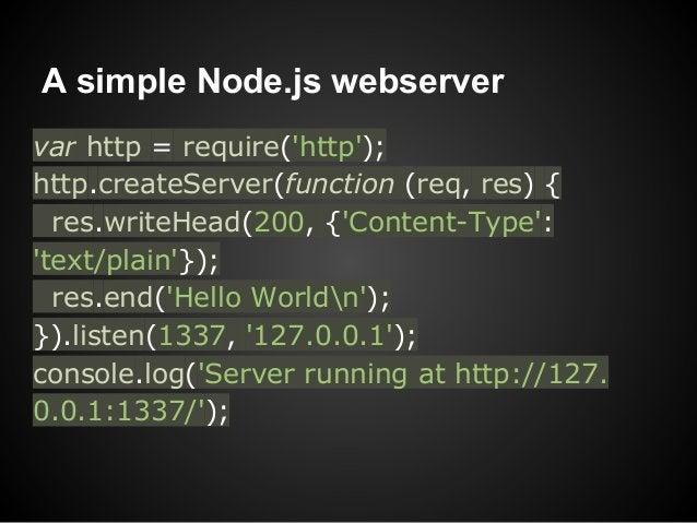 A simple Node.js webservervar http = require(http);http.createServer(function (req, res) {  res.writeHead(200, {Content-Ty...