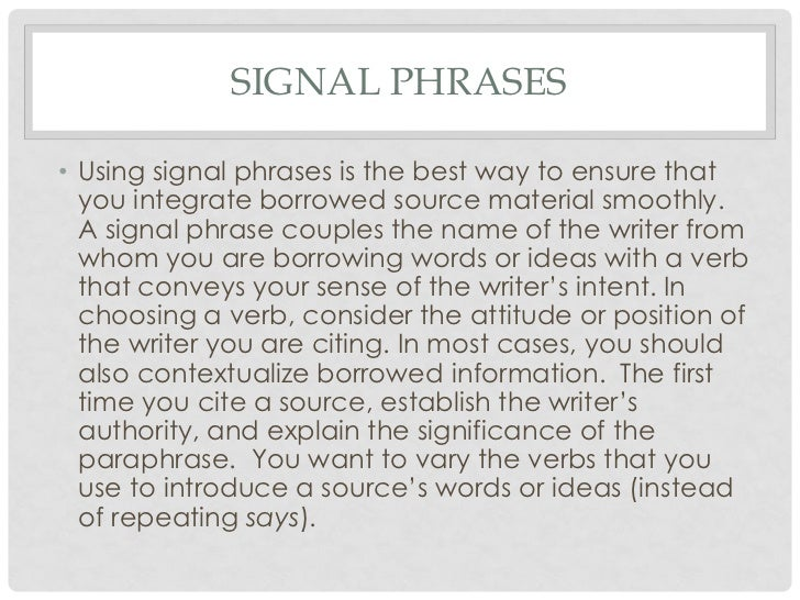 Paraphrasing signal words