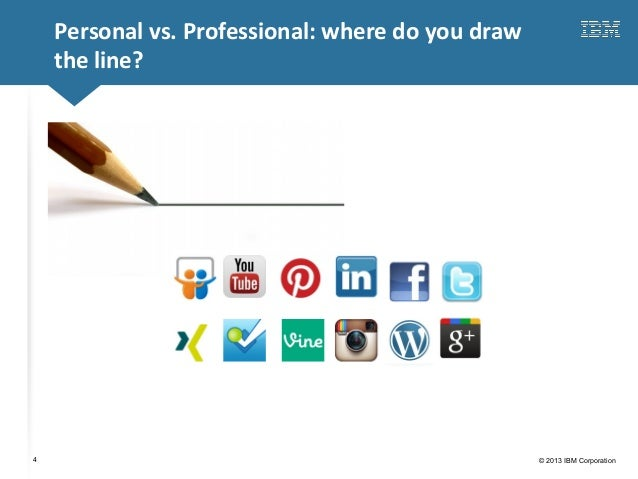 Click to edit Master title style© 2013 IBM Corporation4Personal vs. Professional: where do you drawthe line?