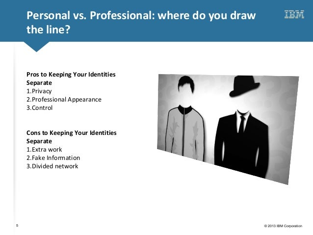 Click to edit Master title style© 2013 IBM Corporation5Personal vs. Professional: where do you drawthe line?Pros to Keepin...