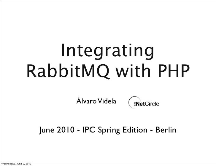 Integrating                   RabbitMQ with PHP                                     Álvaro Videla                         ...