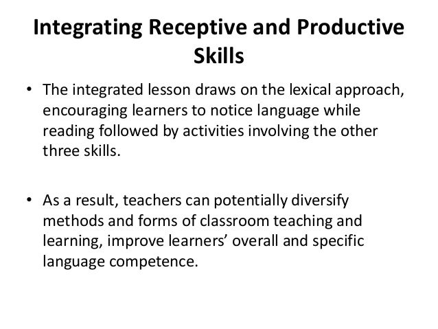 receptive and productive skills celta Teaching receptive skills – reading and listening  receptive skills – reading and listening, and productive skills – speaking and writing all are equally .