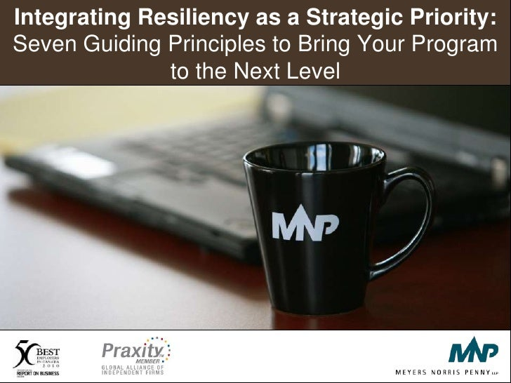 Integrating Resiliency as a Strategic Priority: Seven Guiding Principles to Bring Your Program to the Next Level<br />