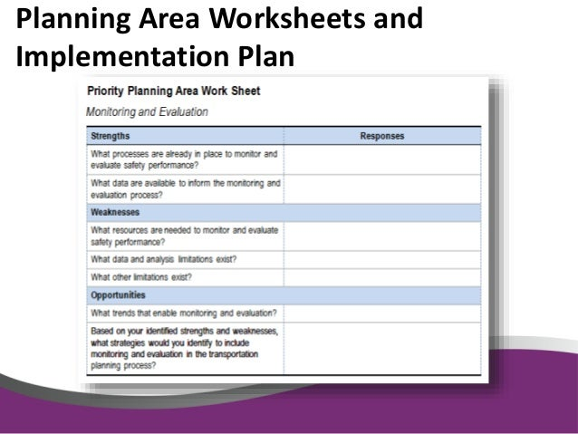 Integrating Safety in the Rural Planning Process – Safety Plan Worksheet
