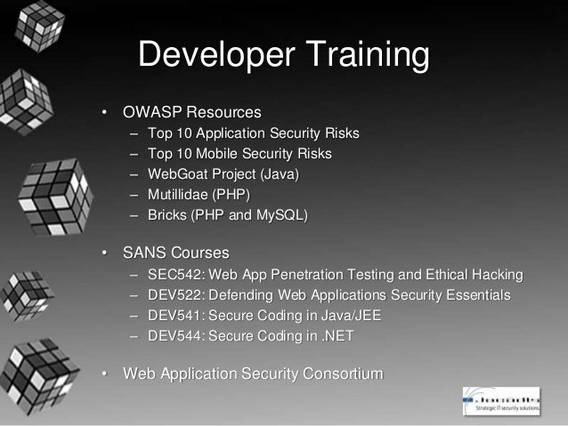 Integrating Security Into The Application Development Process