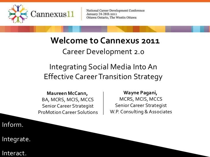 Welcome to Cannexus 2011<br />Career Development 2.0<br />Integrating Social Media Into An<br />Effective Career Transitio...
