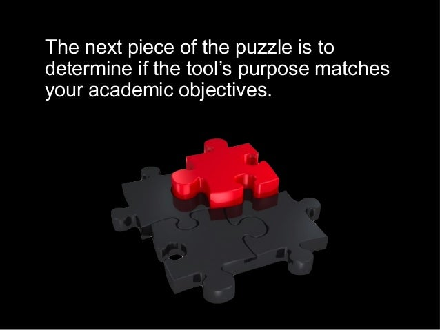The next piece of the puzzle is to determine if the tool's purpose matches your academic objectives.