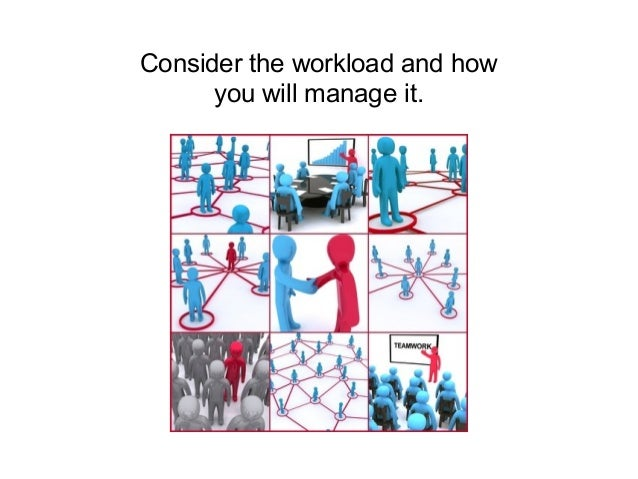 Consider the workload and how you will manage it. Consider Consider the workload and how you will manage it.