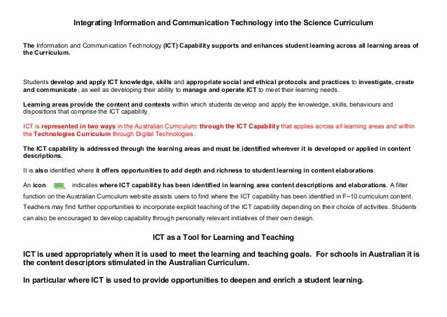 Integrating Information and Communication Technology into the Science Curriculum The Information and Communication Technol...
