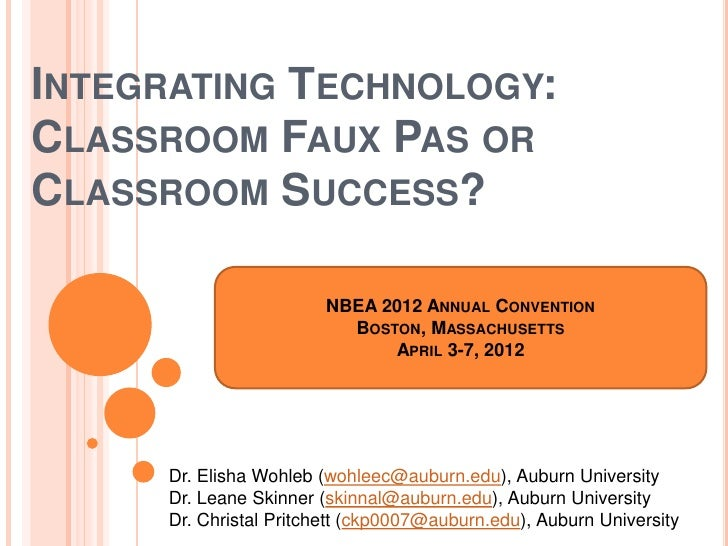 INTEGRATING TECHNOLOGY:CLASSROOM FAUX PAS ORCLASSROOM SUCCESS?                         NBEA 2012 ANNUAL CONVENTION        ...