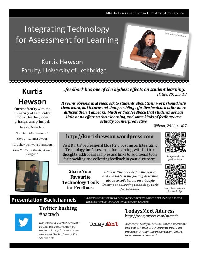 Alberta	   Assessment	   Consortium	   Annual	   Conference	    Integrating	   Technology	   	    for	   Assessment...