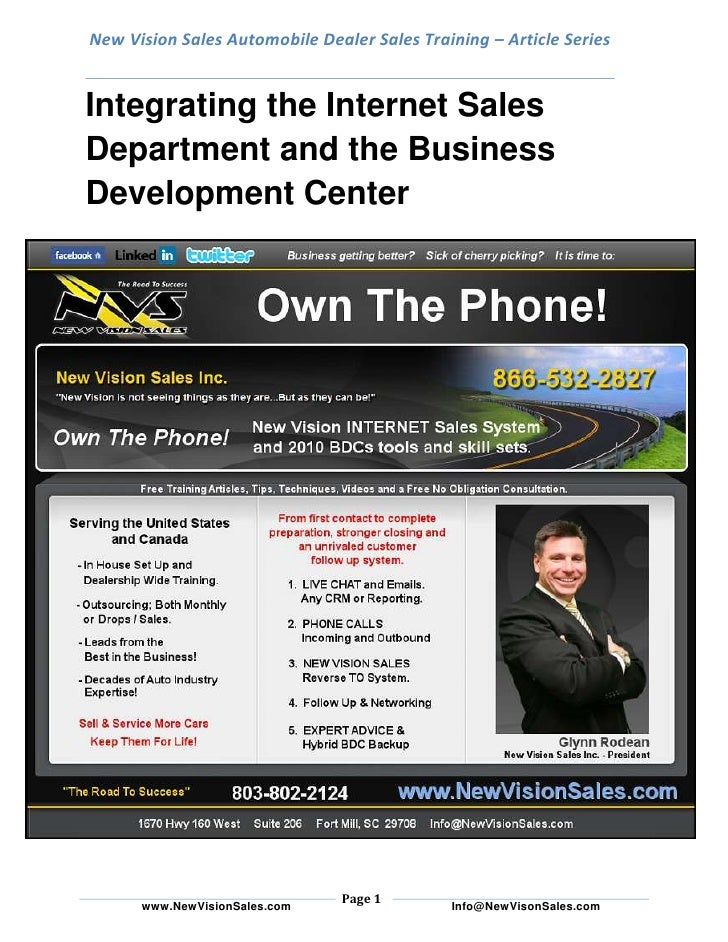 New Vision Sales Automobile Dealer Sales Training – Article SeriesIntegrating the Internet Sales Department and the Busine...