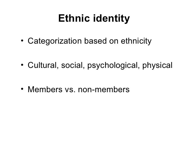 ethnic identity Ethnic identity and african americans ethnic identity ethnic identity is the sum total of group development of ethnic identity is important because it helps one to come to terms with their ethnic.