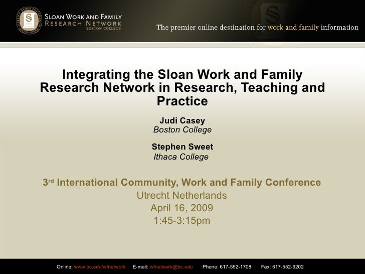 Integrating the Sloan Work and Family Research Network in Research, Teaching and Practice Judi Casey Boston College Stephe...