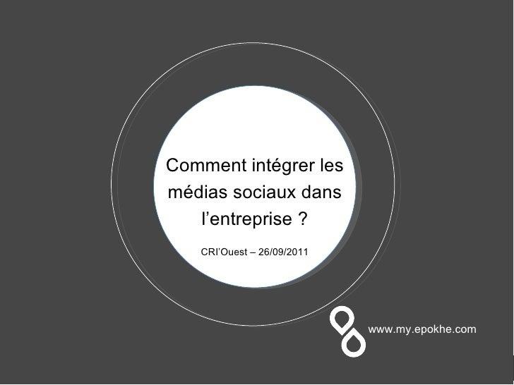 Comment intégrer les médias sociaux dans l'entreprise ? CRI'Ouest – 26/09/2011 www.my.epokhe.com