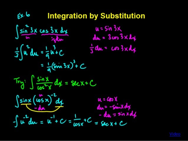 how to solve integration by substitution