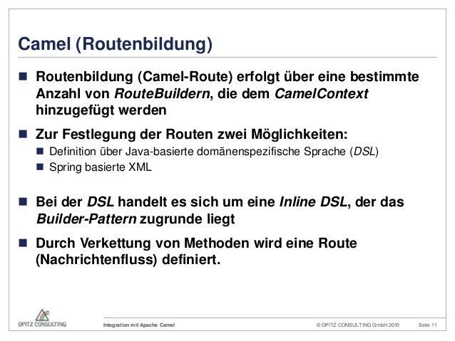© OPITZ CONSULTING GmbH 2010 Seite 11Integration mit Apache CamelCamel (Routenbildung) Routenbildung (Camel-Route) erfolg...