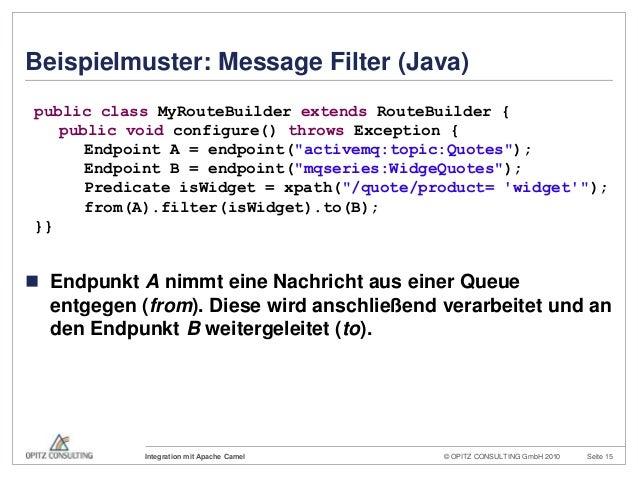 © OPITZ CONSULTING GmbH 2010 Seite 15Integration mit Apache CamelBeispielmuster: Message Filter (Java) Endpunkt A nimmt e...