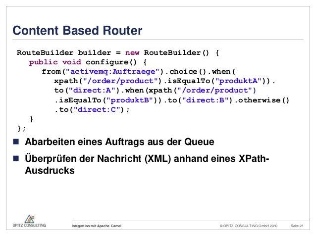 © OPITZ CONSULTING GmbH 2010 Seite 21Integration mit Apache CamelContent Based Router Abarbeiten eines Auftrags aus der Q...