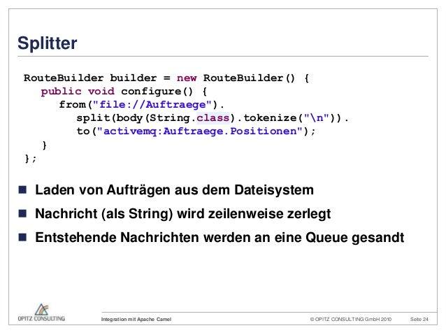 © OPITZ CONSULTING GmbH 2010 Seite 24Integration mit Apache CamelSplitter Laden von Aufträgen aus dem Dateisystem Nachri...