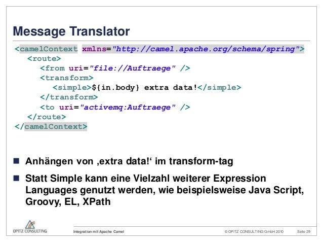 © OPITZ CONSULTING GmbH 2010 Seite 29Integration mit Apache CamelMessage Translator Anhängen von 'extra data!' im transfo...