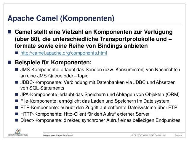© OPITZ CONSULTING GmbH 2010 Seite 9Integration mit Apache CamelApache Camel (Komponenten) Camel stellt eine Vielzahl an ...