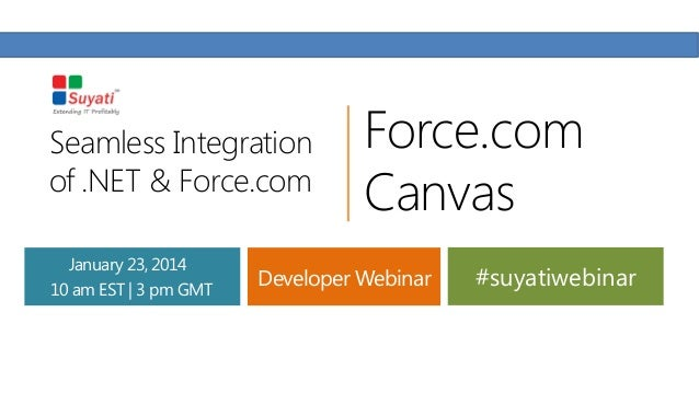 Seamless Integration of .NET & Force.com January 23, 2014 10 am EST | 3 pm GMT  Force.com Canvas  Developer Webinar  #suya...
