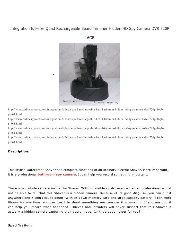 Integration full-size Quad Rechargeable Beard Trimmer Hidden HD Spy Camera DVR 720P                                       ...