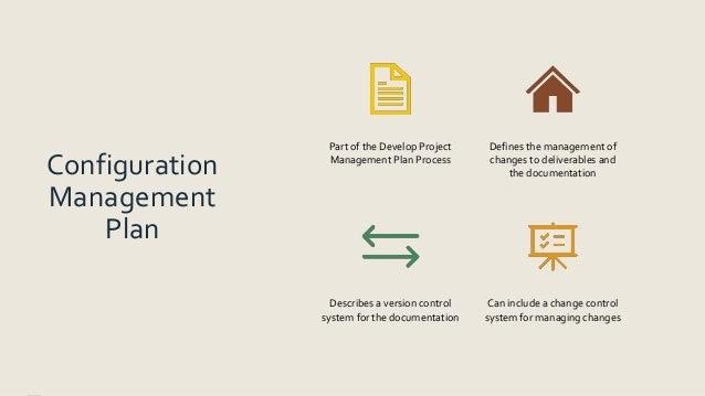 Configuration Management Plan Part of the Develop Project Management Plan Process Defines the management of changes to del...