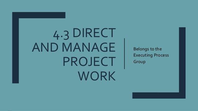 4.3 DIRECT AND MANAGE PROJECT WORK Belongs to the Executing Process Group