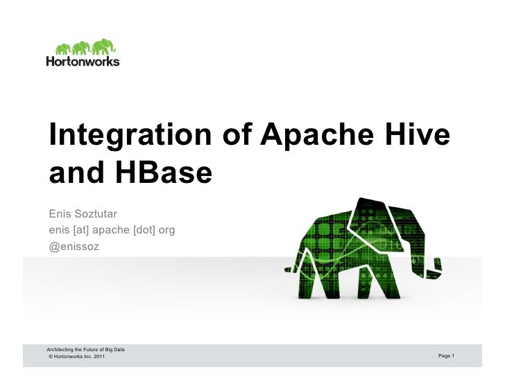 Integration of Apache Hiveand HBaseEnis Soztutarenis [at] apache [dot] org@enissozArchitecting the Future of Big Data © Ho...