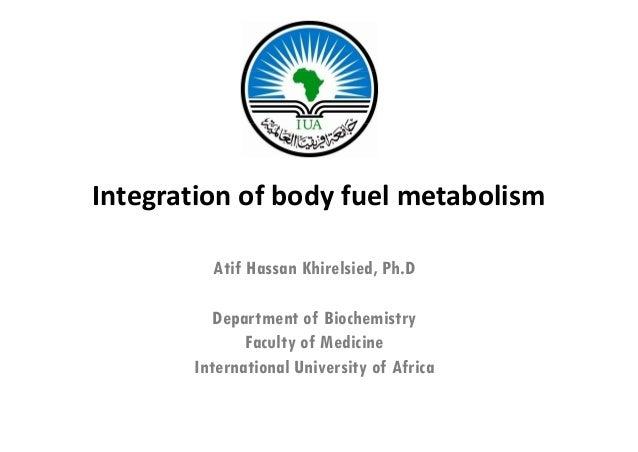 Integrationofbodyfuelmetabolism         Atif Hassan Khirelsied, Ph.D                               ,          Departme...