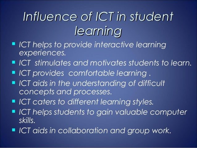 the impact of icts on students 4 the positive impact of elearning - 2012 update and using ict) (universidad autónoma of barcelona, spain) • in one two-year study of upper.