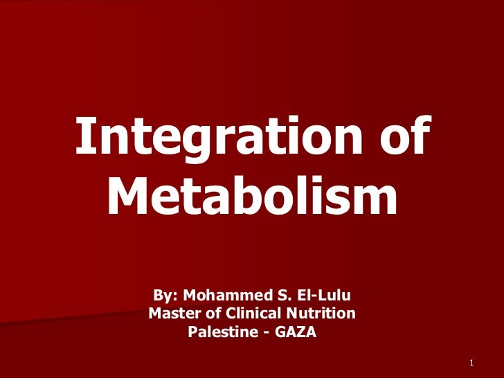 Integration of Metabolism  By: Mohammed S. El-Lulu  Master of Clinical Nutrition      Palestine - GAZA                    ...