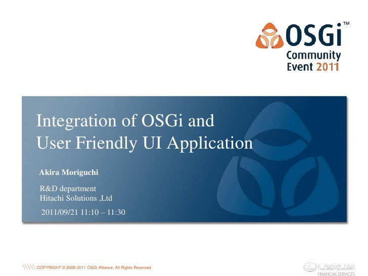 Integration of OSGi and User Friendly UI Application ...