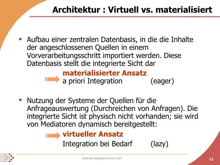 <ul><li>Aufbau einer zentralen Datenbasis, in die die Inhalte der angeschlossenen Quellen in einem Vorverarbeitungsschritt...